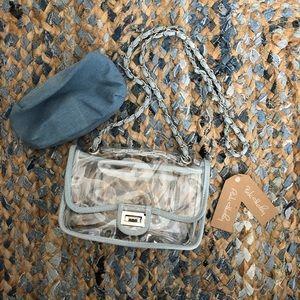 NWT - pink Haley clear crossbody purse